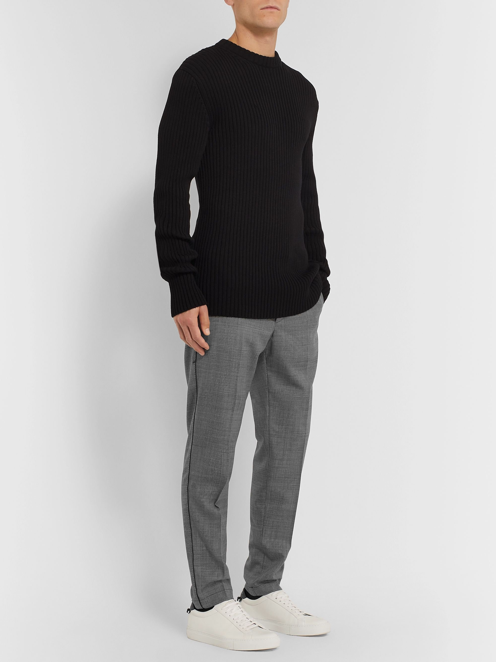 Dolce & Gabbana Grey Tapered Shell-Trimmed Prince of Wales Checked Wool-Blend Drawstring Trousers