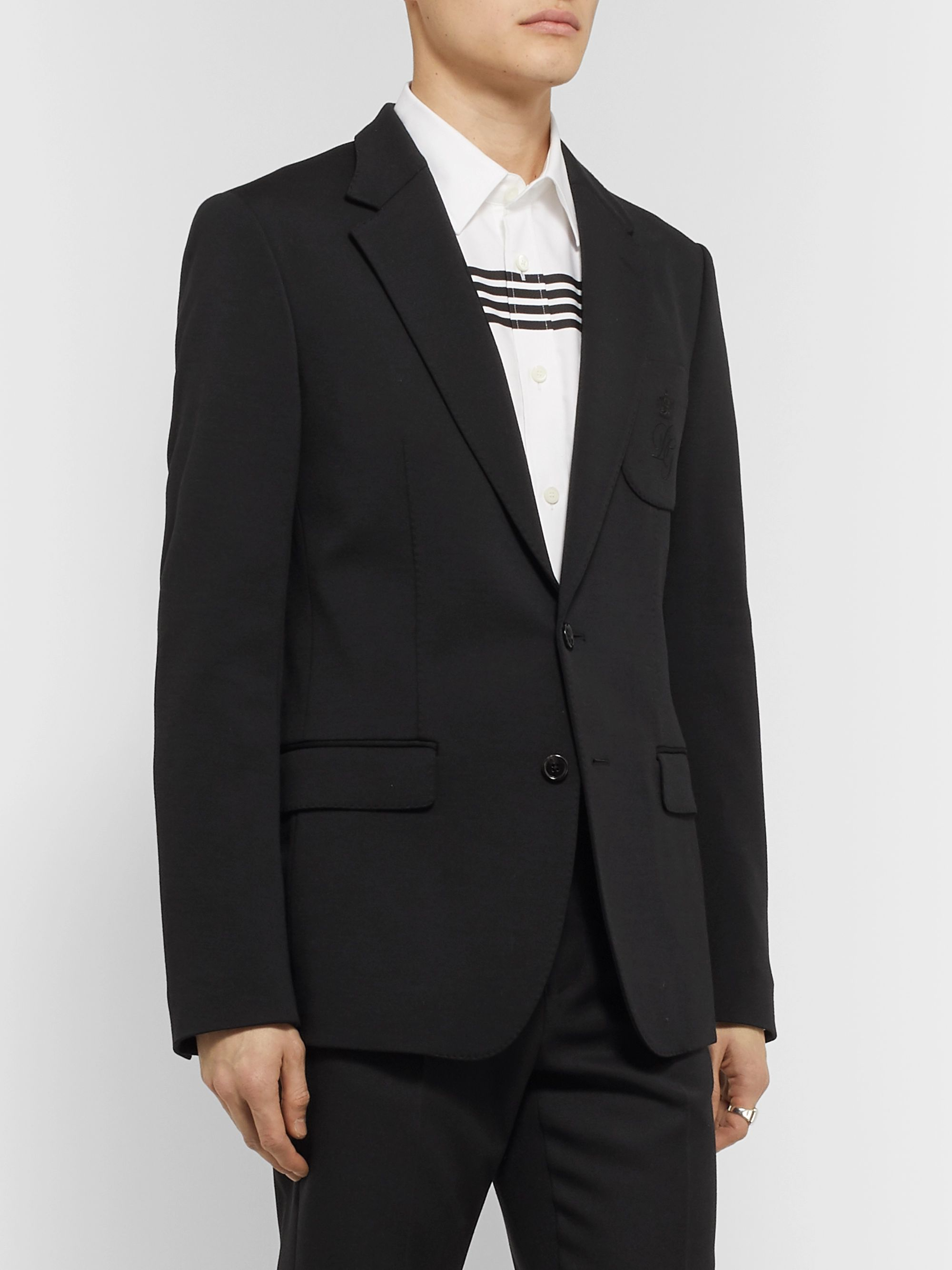 Dolce & Gabbana Slim-Fit Unstructured Logo-Embroidered Wool-Blend Jersey Blazer