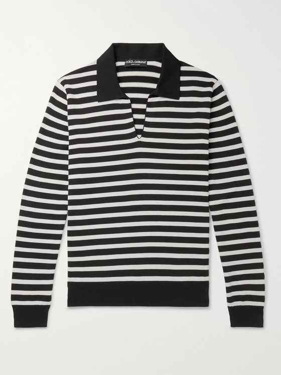 Dolce & Gabbana Striped Cotton, Silk and Cashmere-Blend Sweater