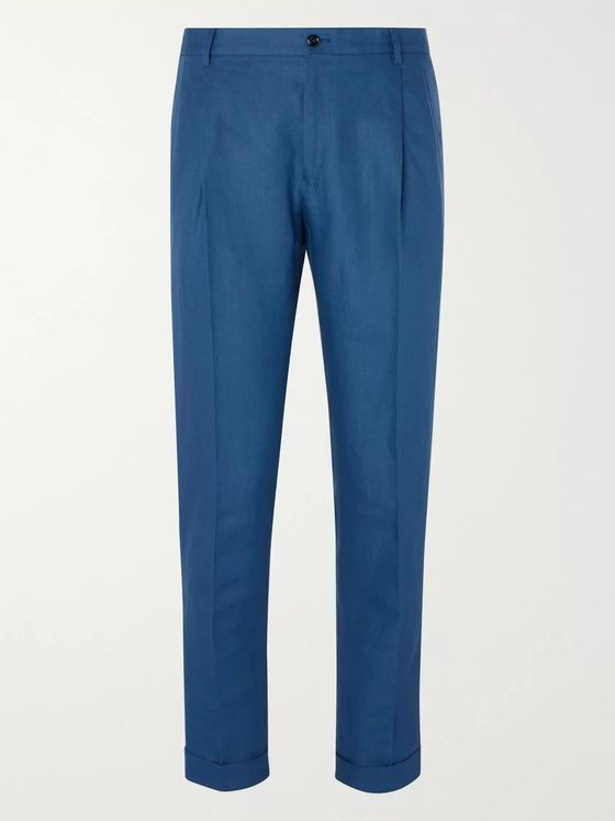 Dolce & Gabbana Slim-Fit Tapered Pleated Linen Trousers