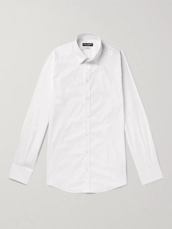 Dolce & Gabbana White Slim-Fit Cotton-Blend Poplin Shirt