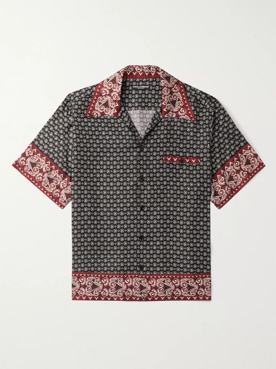 Dolce & Gabbana Camp-Collar Logo-Print Silk-Twill Shirt