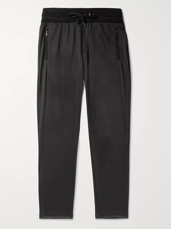 Dolce & Gabbana Slim-Fit Tapered Logo-Appliquéd Satin-Jersey Track Pants