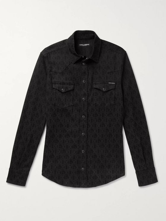 Dolce & Gabbana Logo-Print Stretch-Denim Shirt