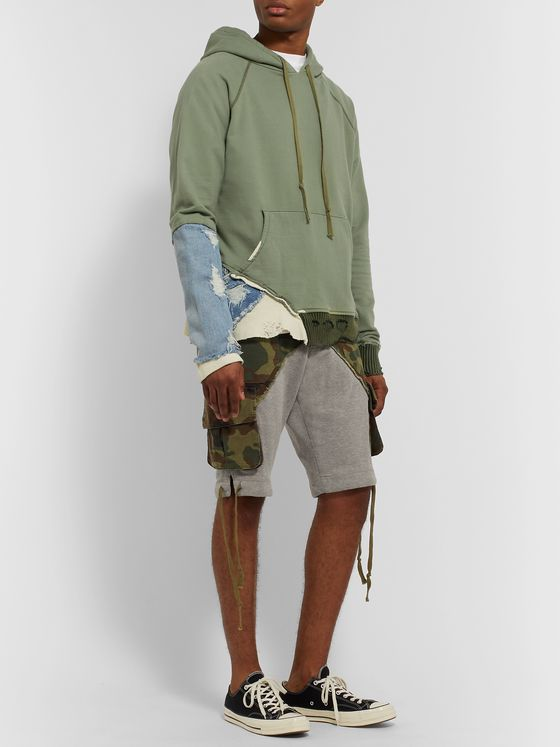 Greg Lauren Fragment Distressed Panelled Cotton-Jersey and Denim Hoodie