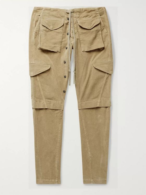 Greg Lauren Slim-Fit Tapered Cotton-Corduroy Cargo Trousers