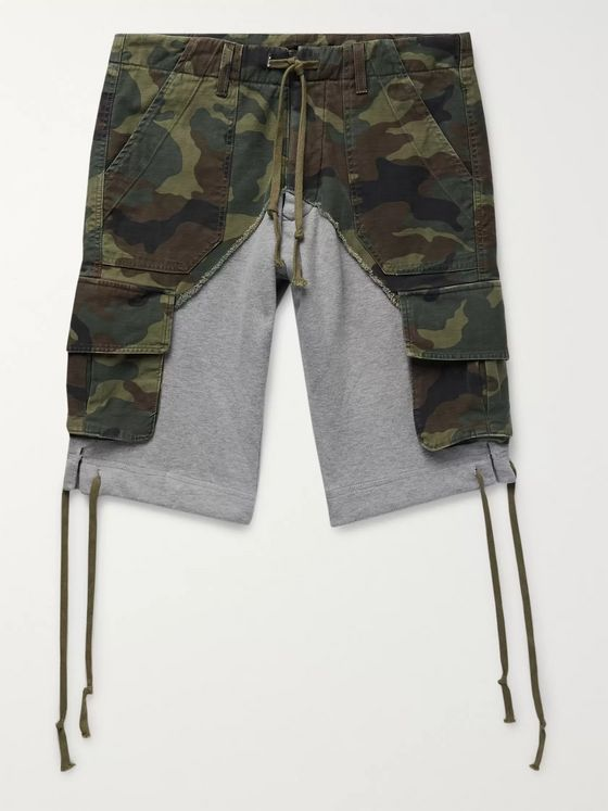 Greg Lauren Camouflage-Print Cotton-Canvas Panelled Loopback Jersey Drawstring Shorts