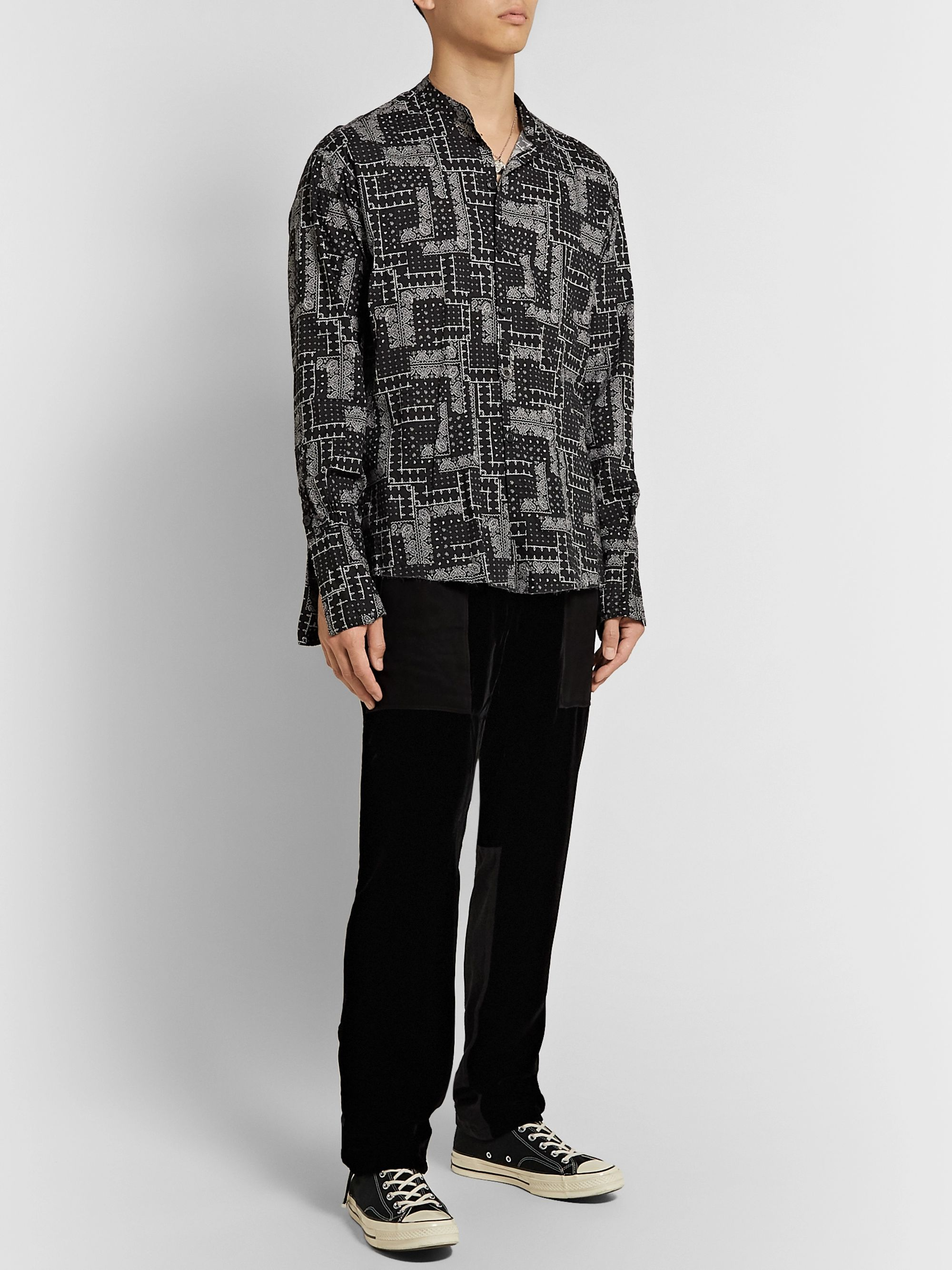 Greg Lauren Grandad-Collar Paisley-Print Cotton Shirt