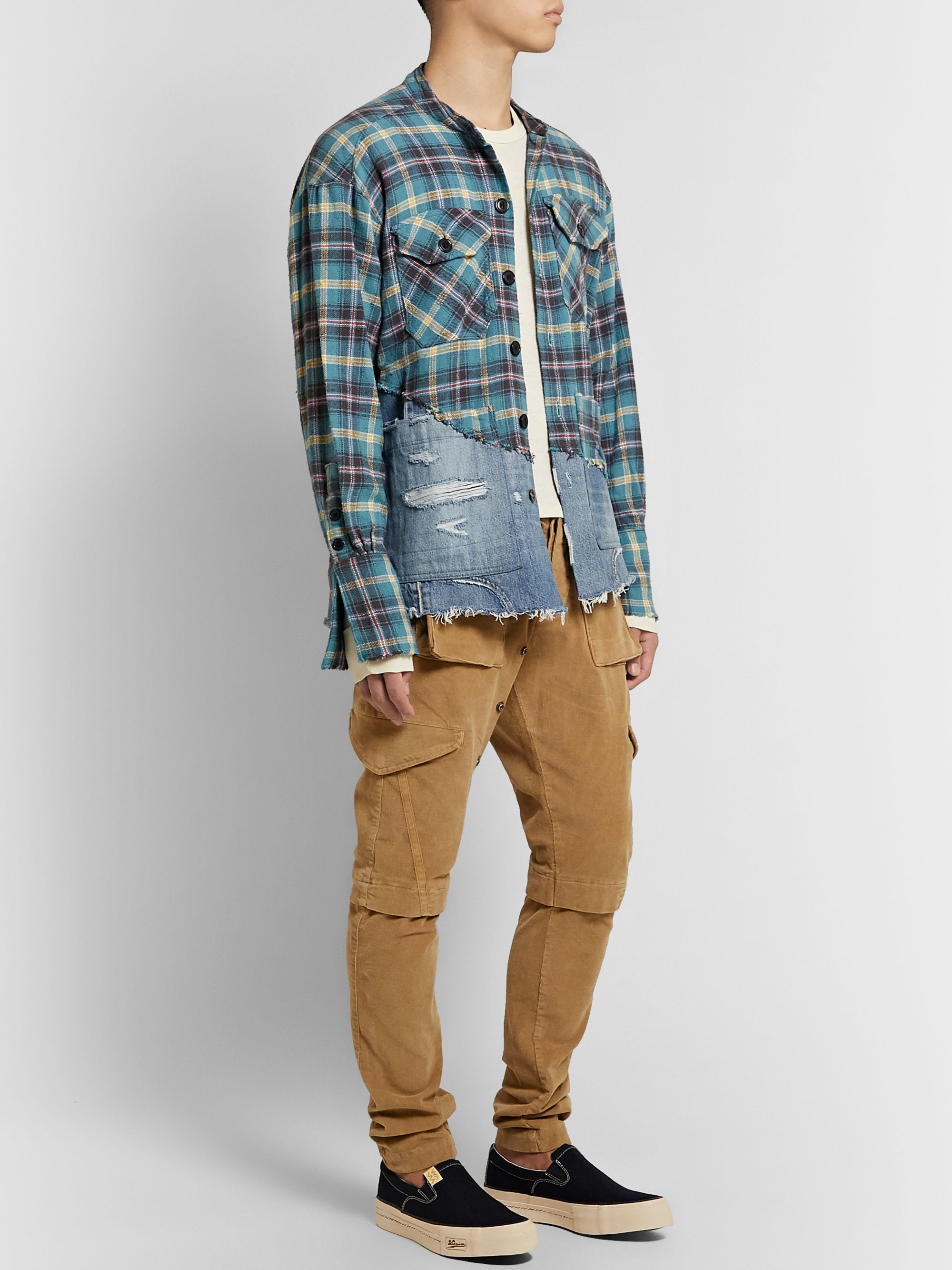 Greg Lauren Grandad-Collar Panelled Distressed Checked Cotton-Flannel and Denim Shirt