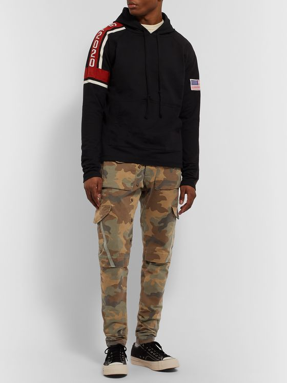 Greg Lauren Slim-Fit Tapered Camouflage-Print Cotton-Blend Gabardine Drawstring Cargo Trousers