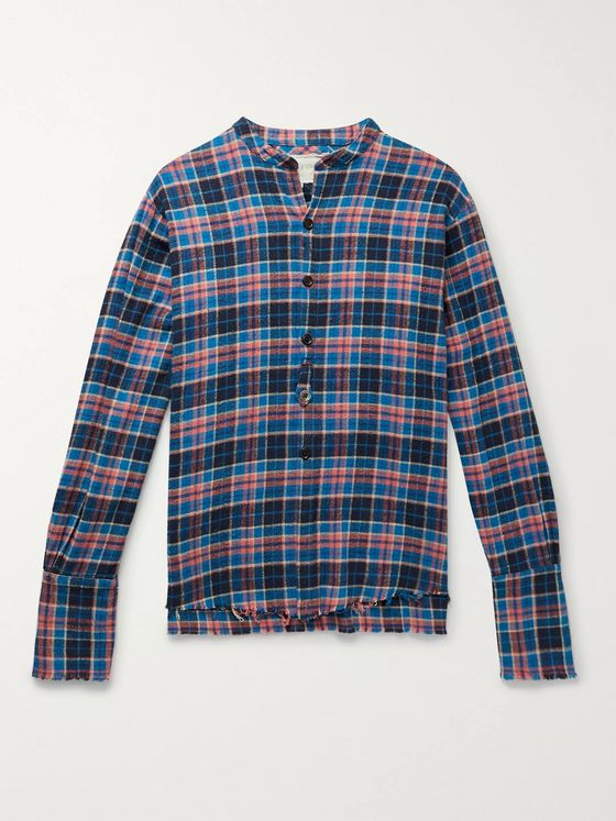 Greg Lauren Classic Studio Grandad-Collar Distressed Checked Cotton-Flannel Shirt