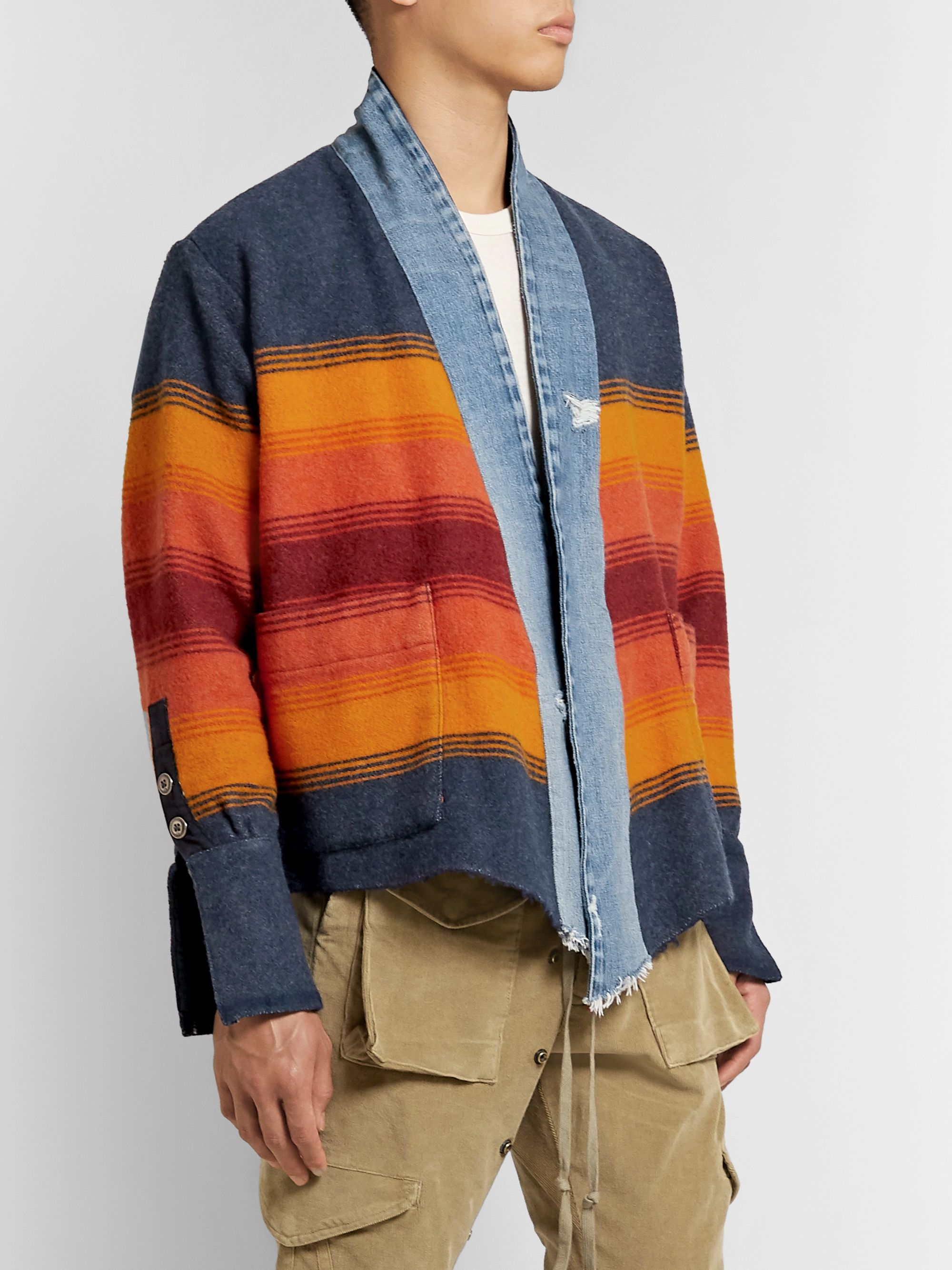 Greg Lauren Boxy Kimono Studio Distressed Denim-Trimmed Striped Wool-Blend Jacket
