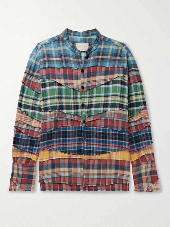 Greg Lauren Grandad-Collar Patchwork Checked Cotton-Flannel Shirt