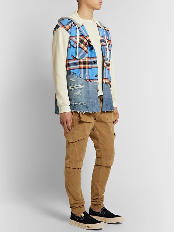Greg Lauren Panelled Cotton-Blend Waffle-Knit, Flannel and Denim Jacket