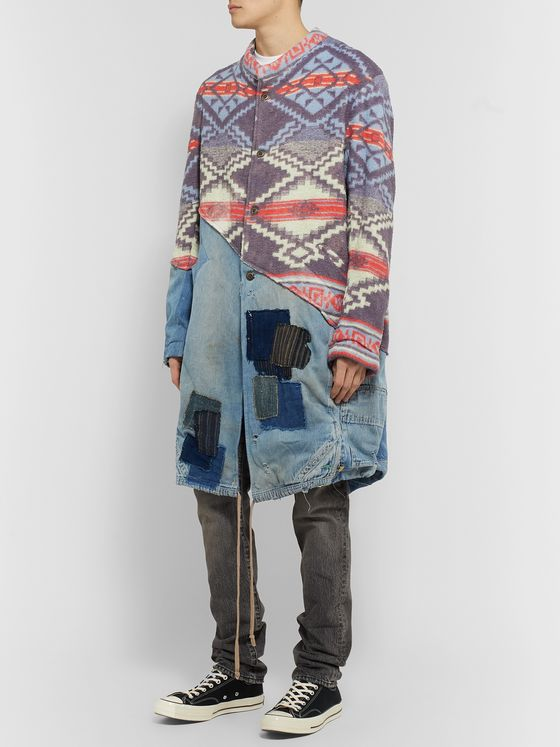 Greg Lauren Modern Artist Panelled Distressed Denim and Jacquard-Knit Parka