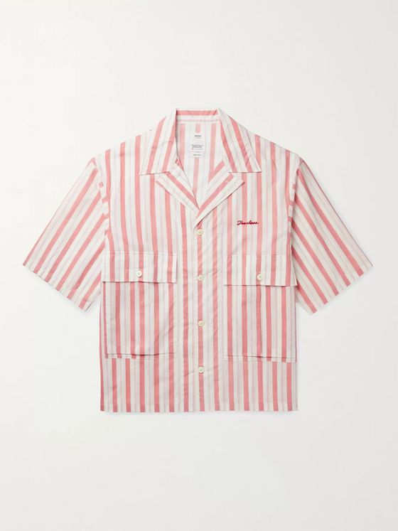 visvim Camp-Collar Embroidered Striped Cotton Shirt