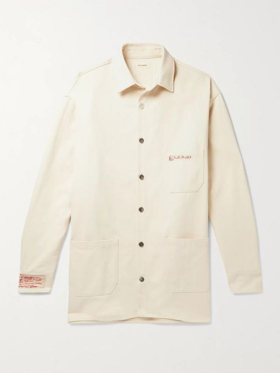 Raf Simons Oversized Logo-Appliquéd Denim Overshirt