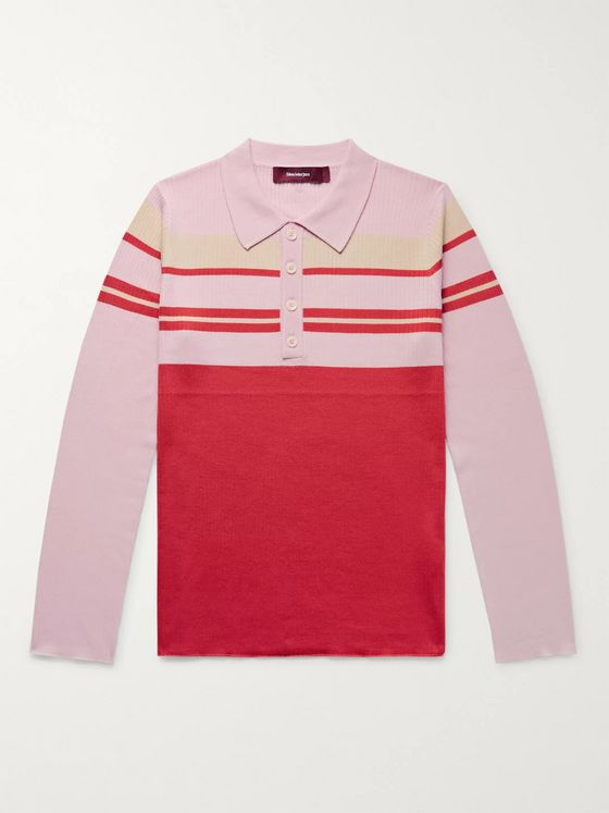 Sies Marjan Cortez Slim-Fit Colour-Block Ribbed Wool Polo Shirt