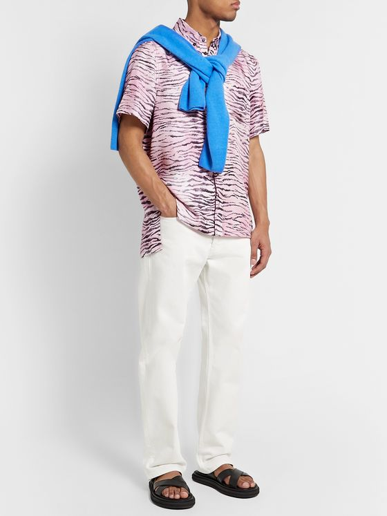 Sies Marjan Rooney Button-Down Collar Tiger-Print Silk-Twill Shirt