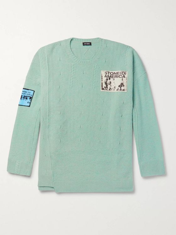 Raf Simons Oversized Appliquéd Wool Sweater