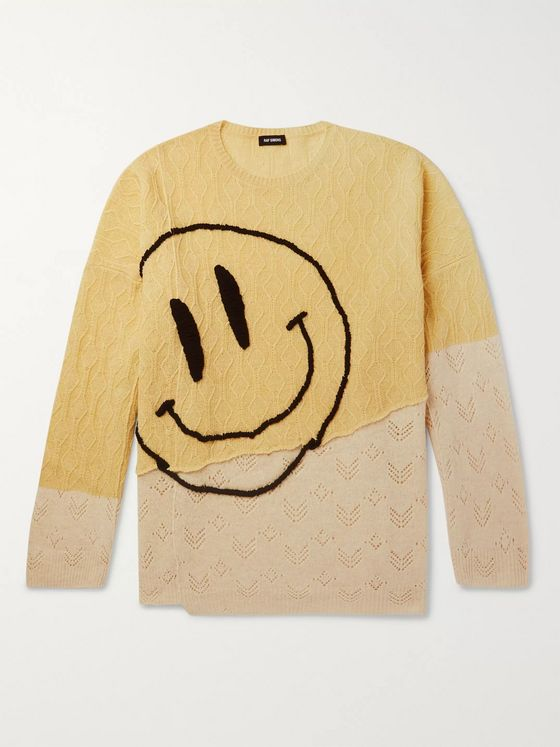 Raf Simons Oversized Embroidered Merino Wool Sweater