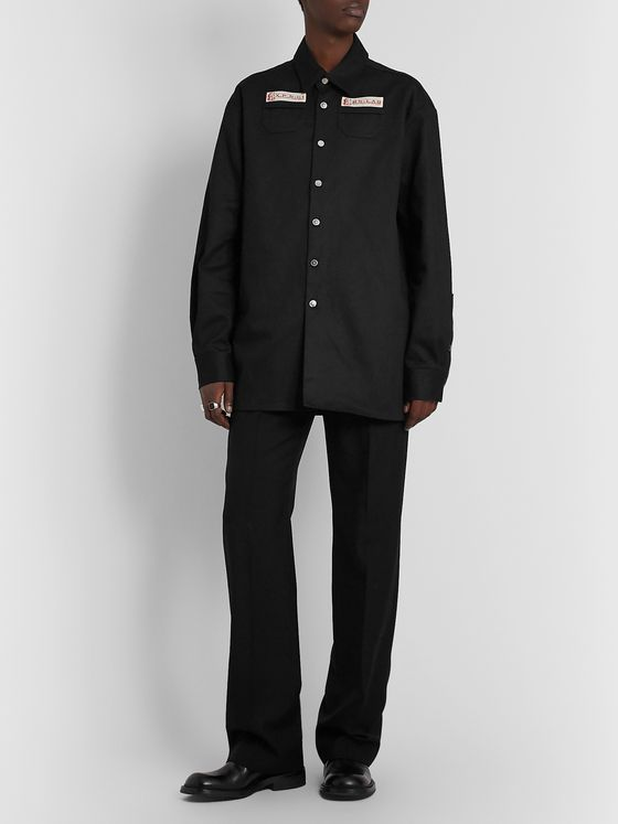 Raf Simons Logo-Appliquéd Denim Overshirt