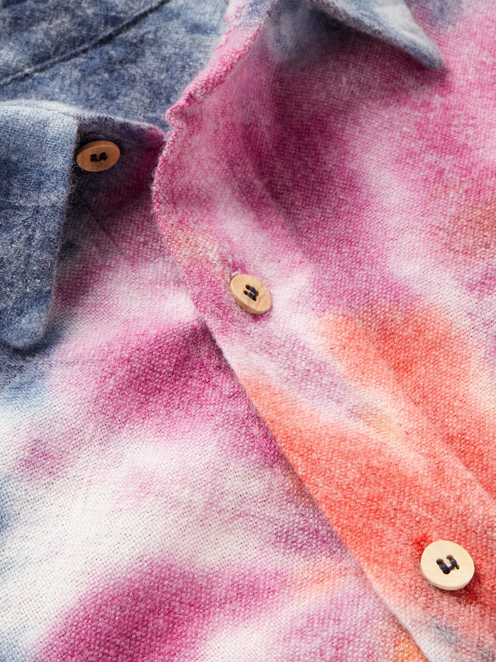 The Elder Statesman Oversized Tie-Dyed Wool, Cashmere and Cotton-Blend Flannel Shirt