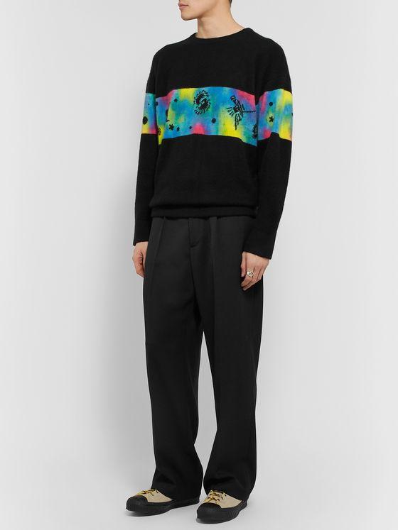 The Elder Statesman Space Game Rambler Intarsia Cashmere Sweater