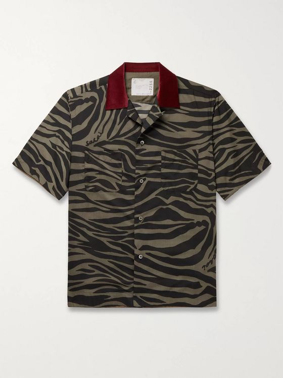 Sacai Camp-Collar Velvet-Trimmed Printed Voile Shirt