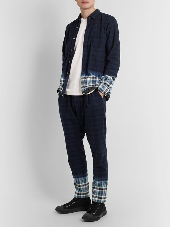 Sacai Madras Shell-Trimmed Checked Cotton-Twill Shirt