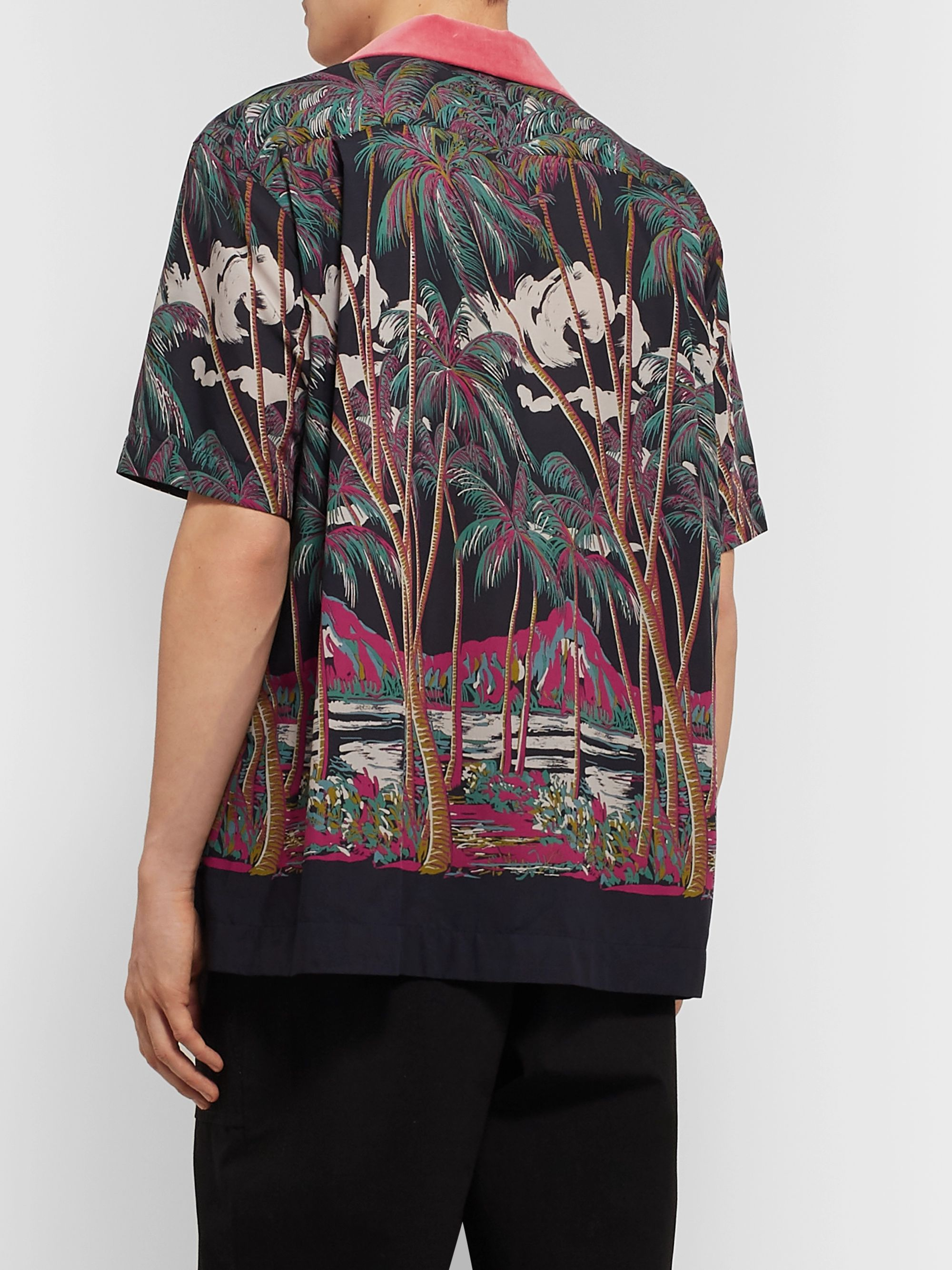 Sacai + SUN SURF Diamond Head Camp-Collar Velvet-Trimmed Printed Voile Shirt