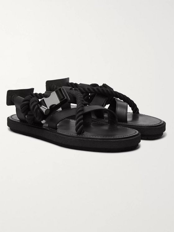 Sacai Rope, Leather and Canvas Sandals