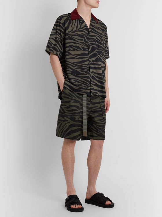 Sacai Belted Zebra-Print Cotton-Ripstop Shorts