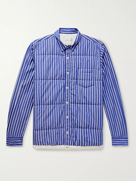 Sacai Shell-Trimmed Quilted Striped Cotton-Poplin Overshirt