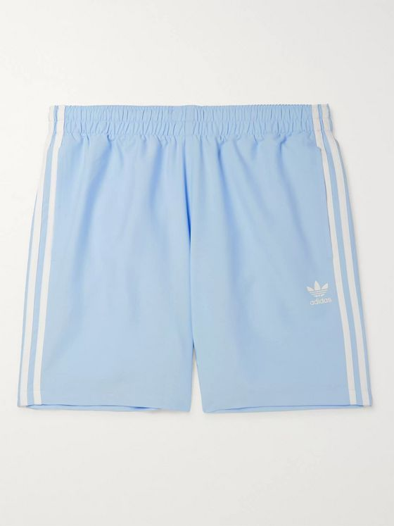 adidas Originals Mid-Length Striped Logo-Print Swim Shorts