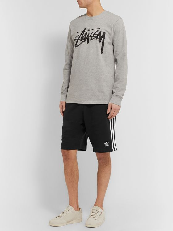 adidas Originals Logo-Embroidered Striped Loopback Cotton-Jersey Shorts