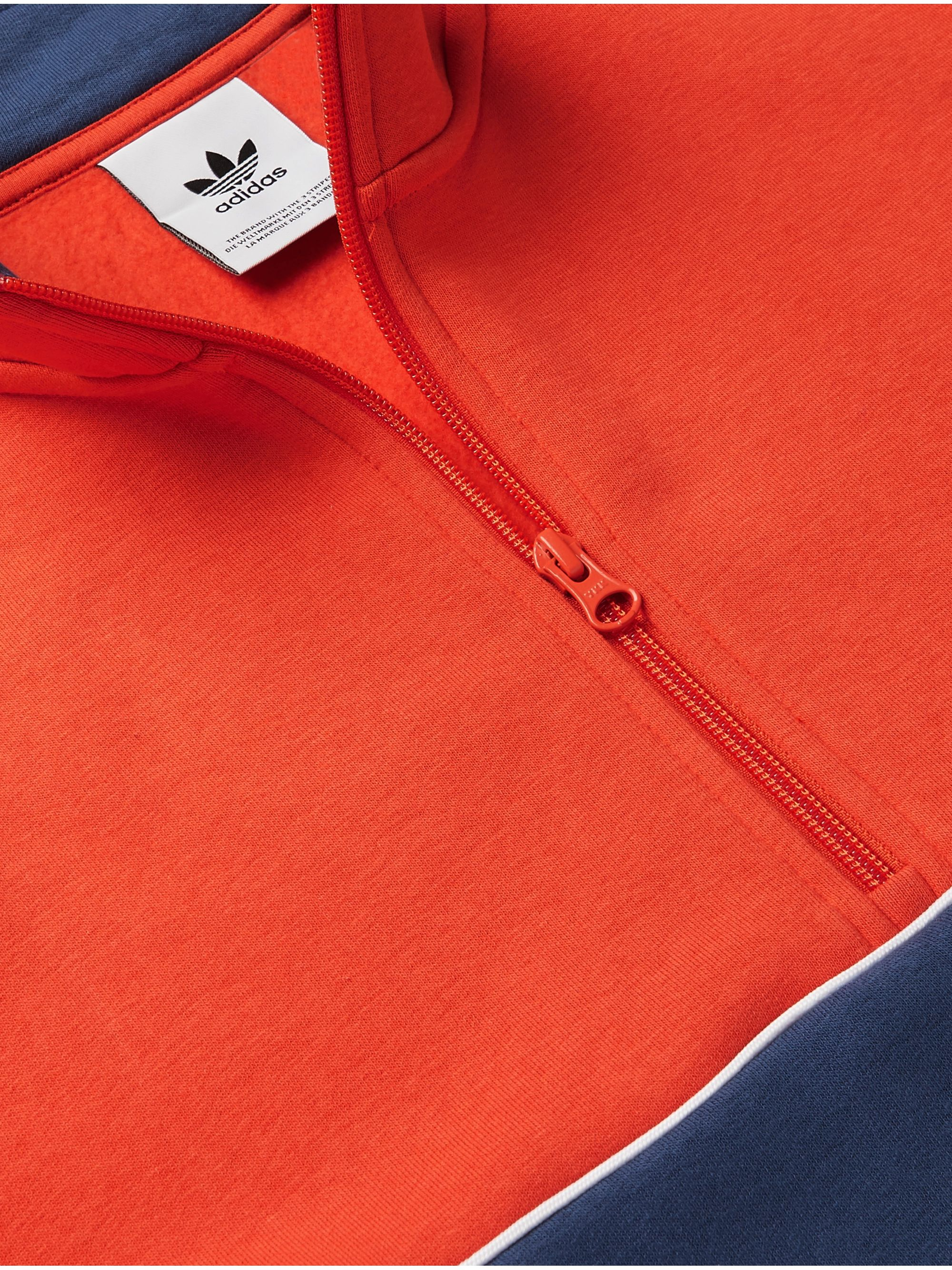 adidas Originals Colour-Block Fleece-Back Cotton-Blend Jersey Half-Zip Sweatshirt
