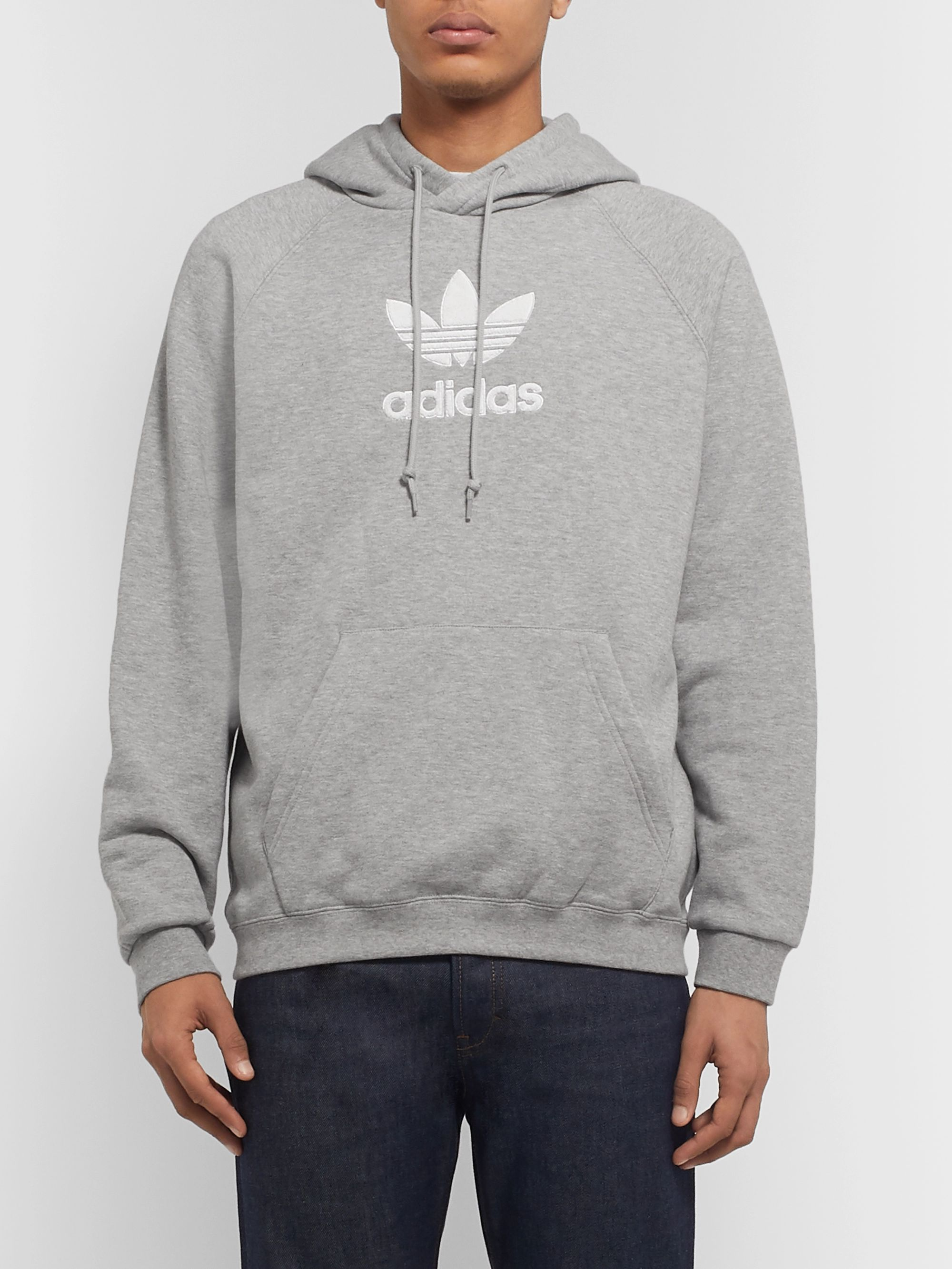 adidas Originals Logo-Appliquéd Loopback Cotton-Jersey Hoodie