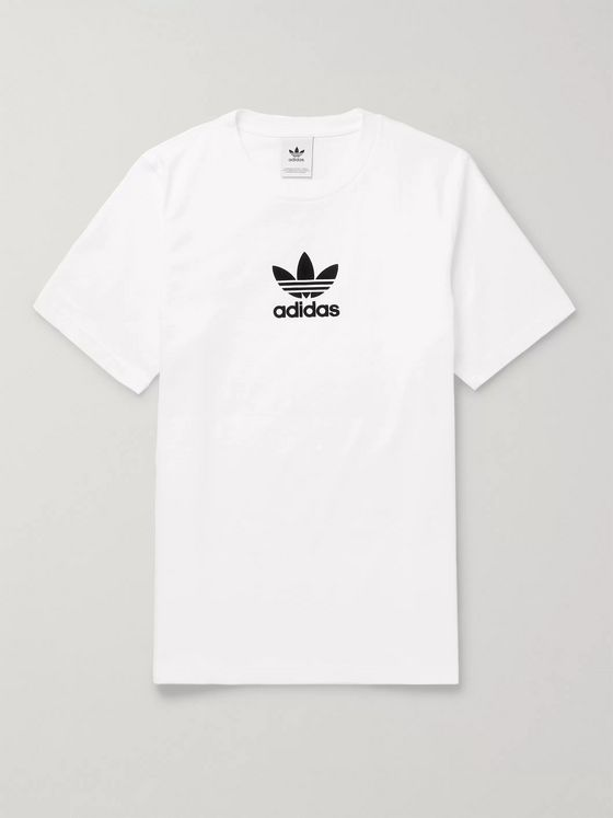 adidas Originals Logo-Flocked Cotton-Jersey T-Shirt