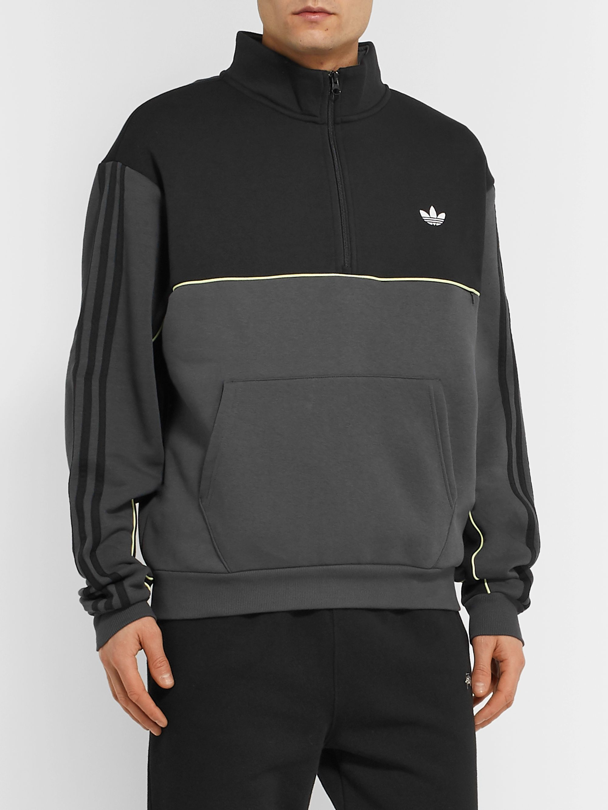 adidas Originals Colour-Block Logo-Embroidered Fleece-Back Half-Zip Sweatshirt