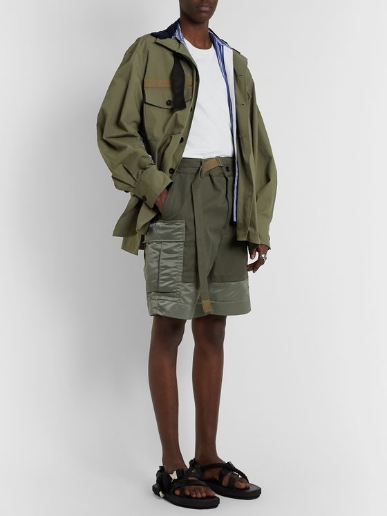 Sacai Wide-Leg Shell-Panelled Cotton-Twill Cargo Shorts