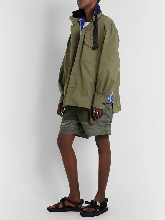 Sacai Panelled Cotton-Blend Canvas Overshirt