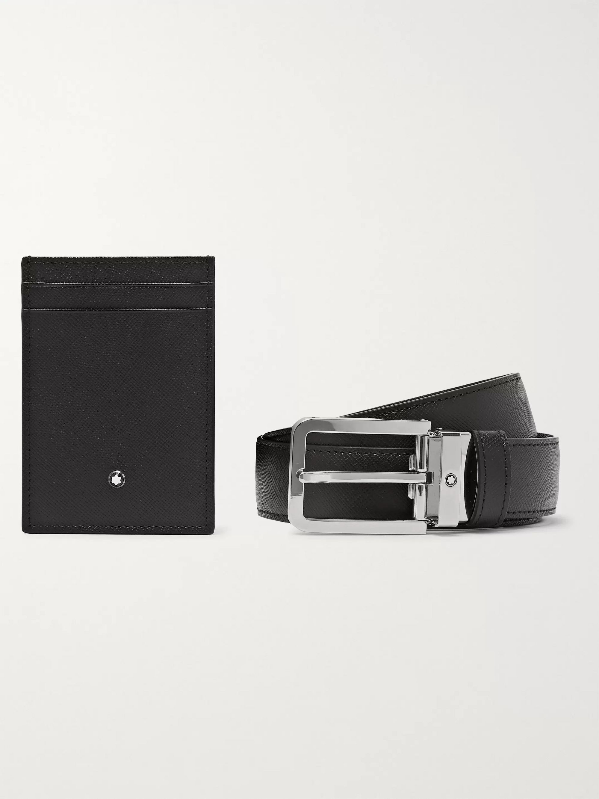Montblanc Cross-Grain Leather Belt and Cardholder Set