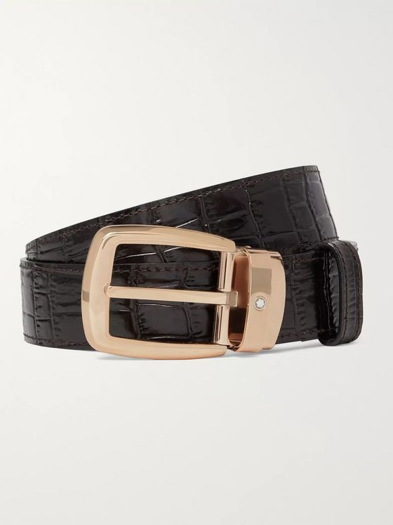 Montblanc 3cm Black Reversible Leather Belt with Two Buckles