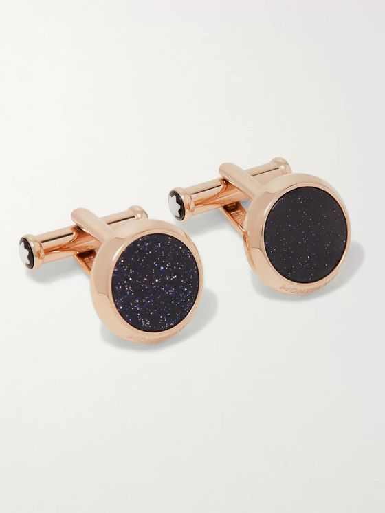 Montblanc Meisterstück PVD-Coated Rose Gold-Tone and Blue Goldstone Cufflinks
