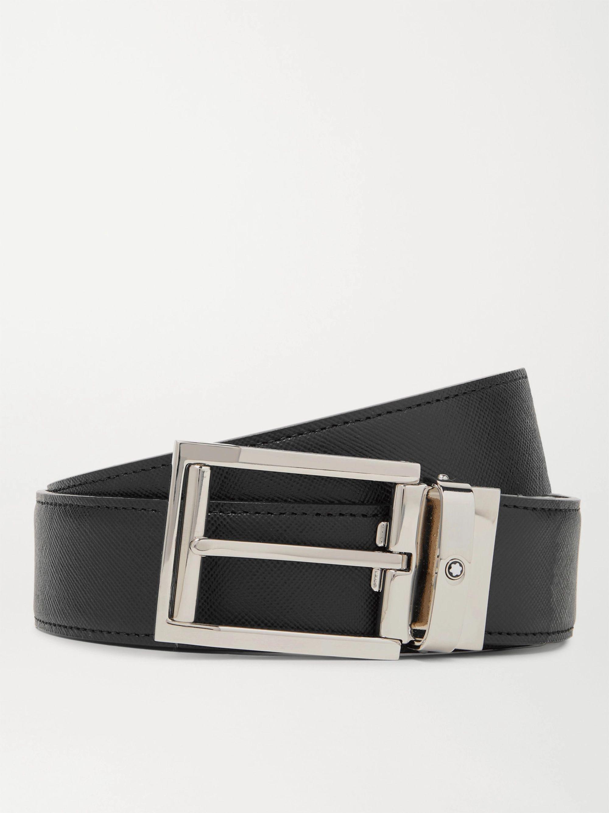 몽블랑 Montblanc 3.5cm Black and Brown Reversible Cross-Grain Leather Belt