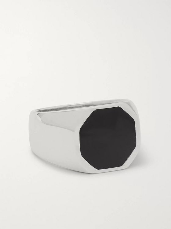 A.P.C. Silver-Tone and Enamel Signet Ring