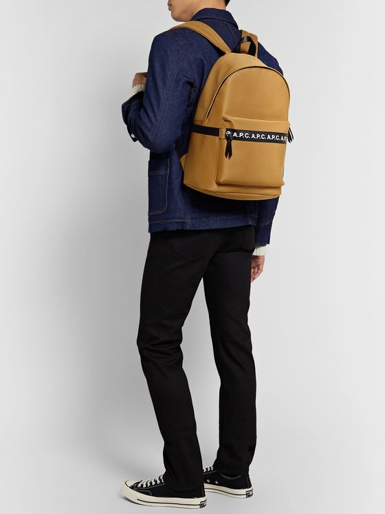 A.P.C. Savile Logo-Print Tape-Trimmed Tech-Canvas Backpack