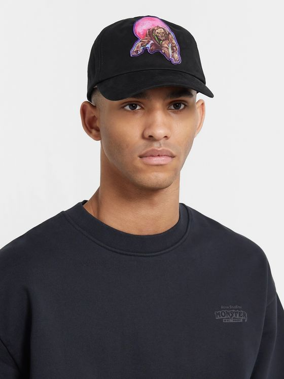 Acne Studios + Monster in My Pocket Appliquéd Embroidered Cotton-Twill Baseball Cap