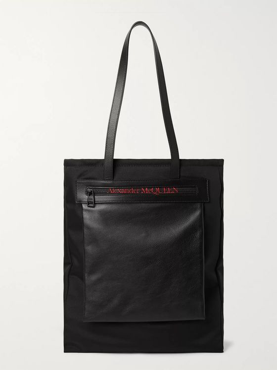 Alexander McQueen City Leather-Trimmed Logo-Print Shell Tote Bag